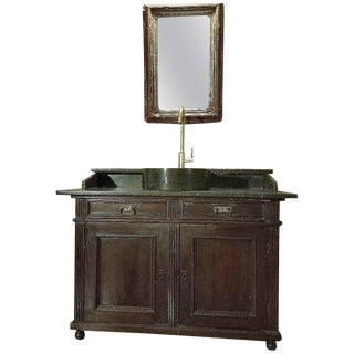 Antique French Bathroom Sink and Mirror For Sale