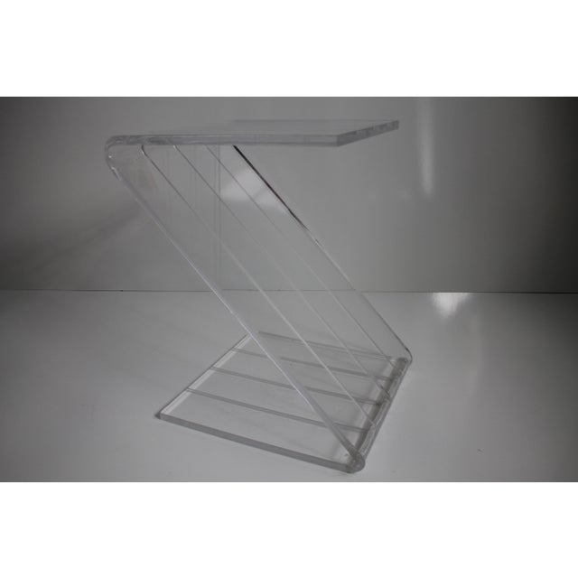 Vintage Lucite Z-Shaped Side Table For Sale - Image 7 of 7