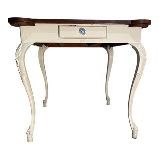 English Traditional Burr Walnut and Painted Games Table For Sale