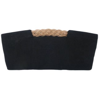 1940's Bags by Josef Black Corde Clutch Handbag With Golden Braid For Sale