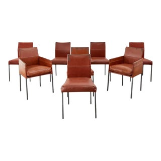 Set of Eight Leather Chairs by Karl-Friedrich Forster For Sale