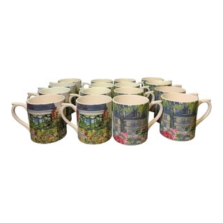 Gien Giverny Coffee Mugs - Set of 16 For Sale