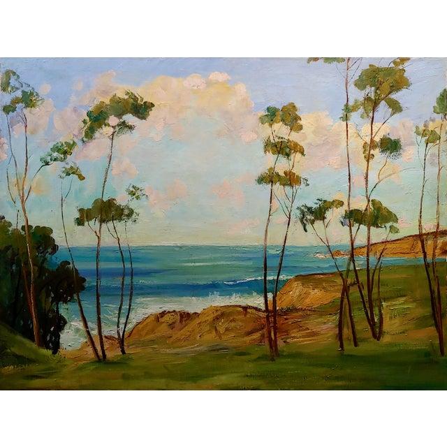 "Impressionist James Arthur Merriam ""California Coastline"" Oil Painting For Sale - Image 3 of 8"