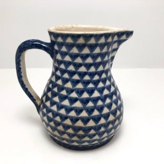 Antique Blue and White Hand-Painted German Stoneware Milk Pitcher Preview