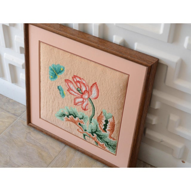 This listing is for a vintage, peachy pink, floral needlepoint. It is double matted and framed in oak wood. Excellent...