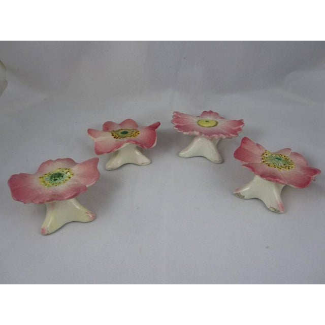 Delphin Massier French Majolica Pink Floral Place Card Holders - Set of 4 - Image 7 of 10
