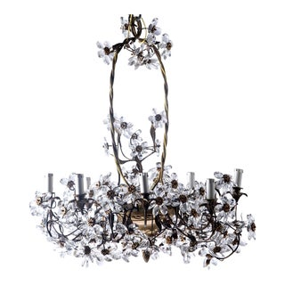 French Chandelier with Metal Basket Surround and Glass Flowers