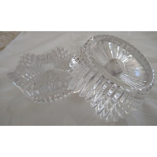 Vintage Cut Glass Candleholders - a Pair For Sale - Image 4 of 7