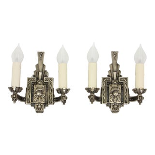 Art Deco Double Arm Nickel Sconces With Leaping Stags - a Pair For Sale