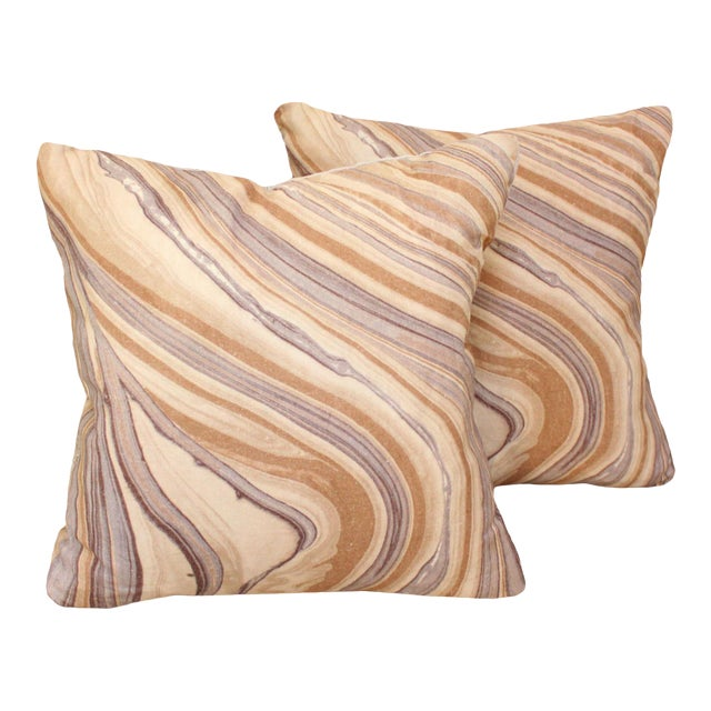 Groundworks Bordello Truffle for Lee Jofa Square Pillows - a Pair For Sale