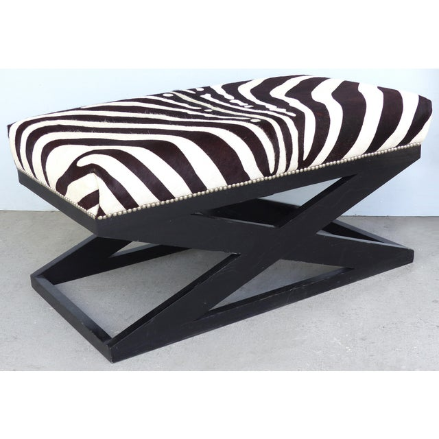 """Barclay Butera Barclay Butera Home """"Bel Air"""" Ottoman With Zebra Print Upholstery For Sale - Image 4 of 9"""