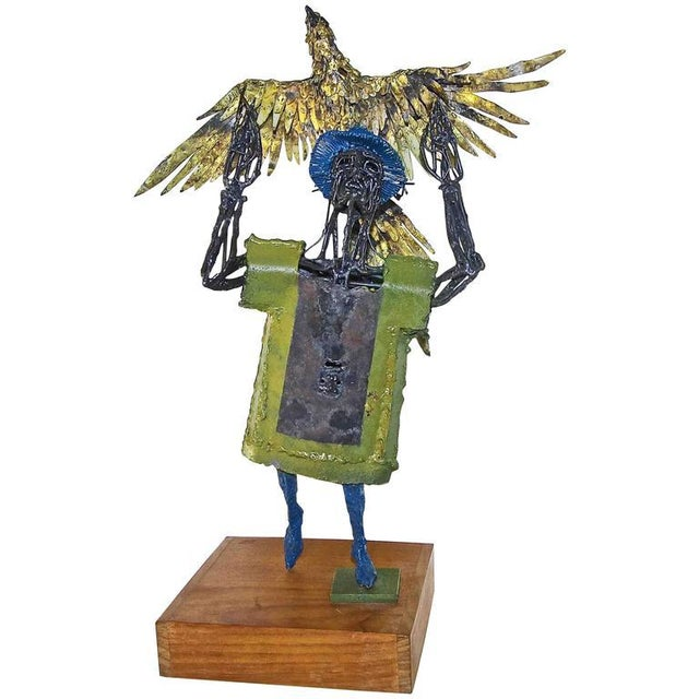 1960s Abstract Bob Fowler Metal Art Work Sculpture of Man Holding Eagle For Sale - Image 11 of 11