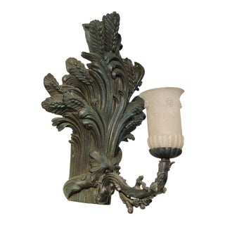 Pair of Bronze Wheat Sheaf Sconces With Murano Glass Lamps