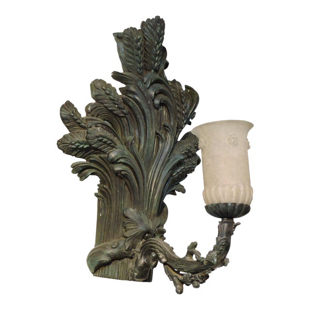 Pair of Bronze Wheat Sheaf Sconces With Murano Glass Lamps For Sale