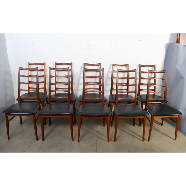 "Black 1960s Vintage Niels Koefoed for Koefoed Hornslet Teak ""Lis"" Dining Chairs- Set of 10 For Sale - Image 8 of 8"