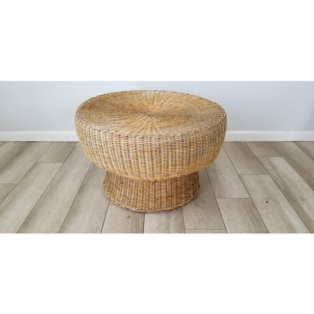 Coffee 1960's Postmodern Eero Aarino Attributed Wicker Chairs and Coffee Table - Set of 3. For Sale - Image 8 of 13