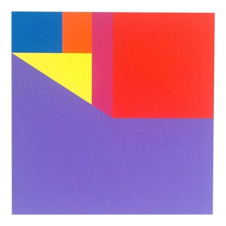 """Martha Hughes """"Scene 149"""" Geometric Interior Space Acrylic Painting in Yellow, Purple, Red, Pink, Blue For Sale"""