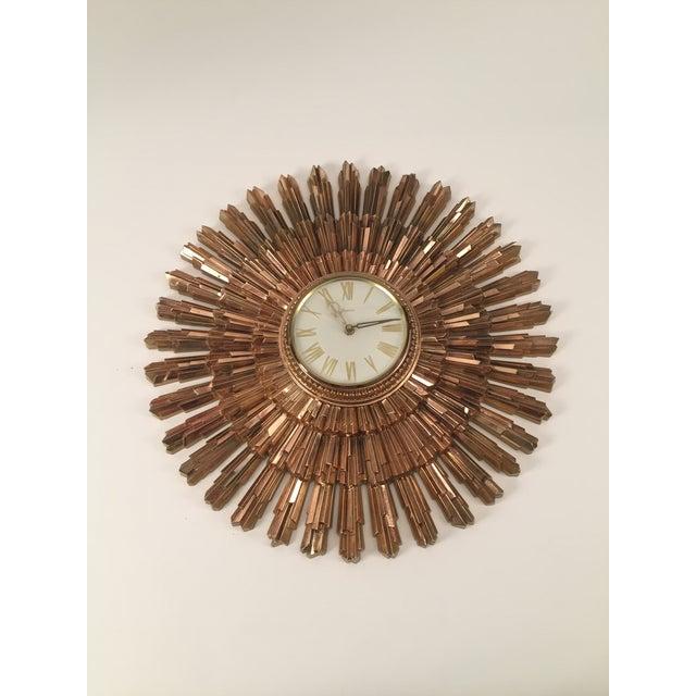 Mid-Century Syroco Sunburst Wall Clock - Image 10 of 11
