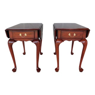 Henkel Harris Queen Anne Drop Side End Tables Model 5432 - a Pair For Sale