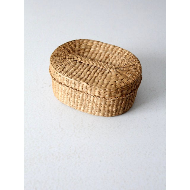 Mid 20th Century Vintage Sweetgrass Basket For Sale - Image 5 of 9