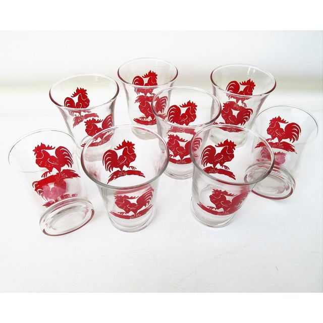 Libbey Rooster Juice Glasses - Set of 8 For Sale - Image 6 of 8
