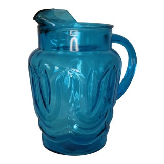 1970s Blue Tulip Pressed Glass Water Pitcher by Anchor Hocking For Sale