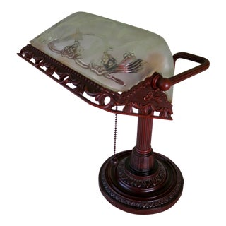 Mid-Century Brass Base and Press Frosted Glass Banker's Lamp Desk / Bedside Lamp For Sale
