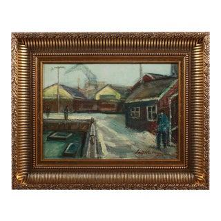 Winter Harbor Scene by Leif Kastrup