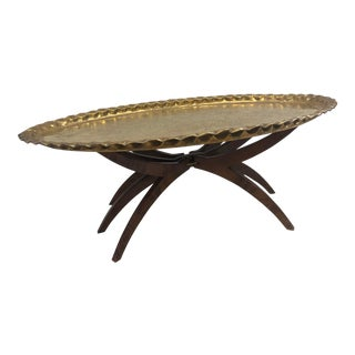 Vintage Brass Moroccan Charger Tray Table With Wood Spider Leg Base For Sale