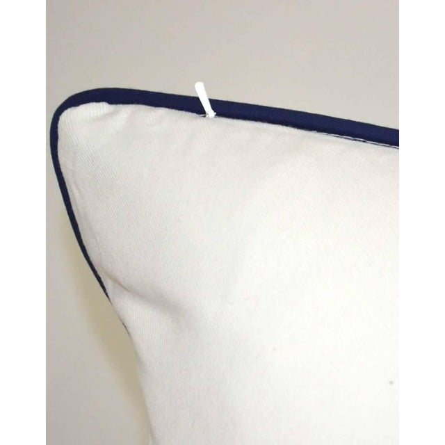 Thibaut Thibaut Printed Navy Blue With White Canvas Solid Back Pillow For Sale - Image 4 of 8