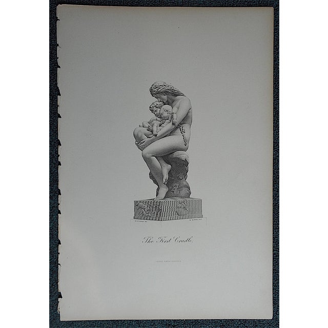 """Antique Engraving """"The First Cradle"""" Folio Size - Image 2 of 3"""