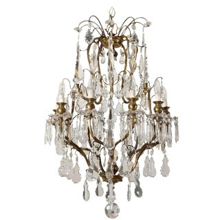19th Century Louis XV Style Bronze and Crystal Chandelier For Sale