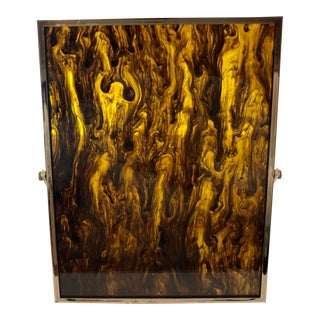 20th Century Minimalist Faux Tortoise Shell and Metal Picture Frame For Sale