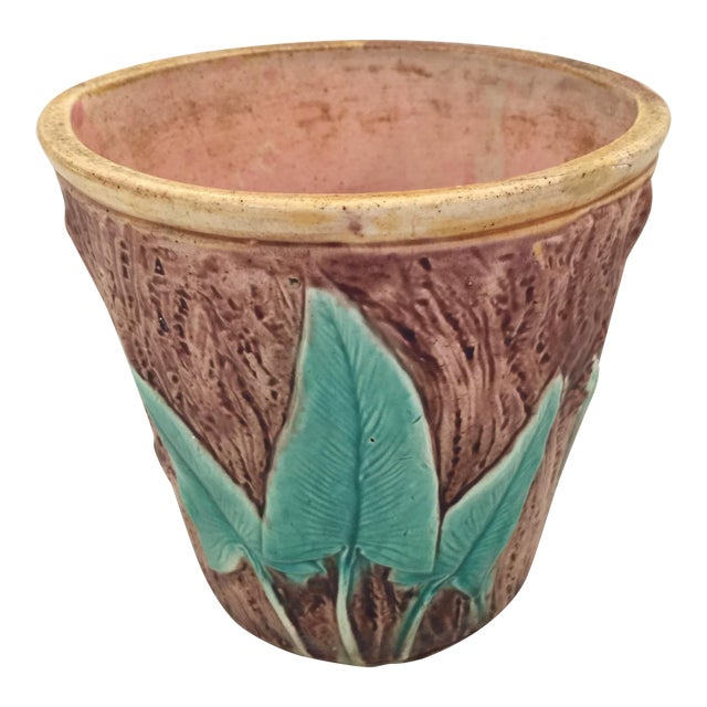 Antique English Majolica Cachepot - Image 1 of 7