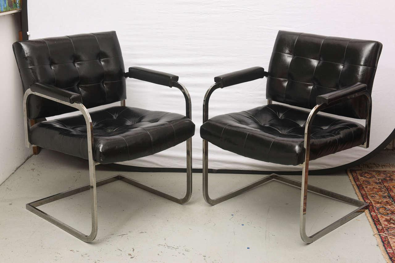 Milo Baughman Style Chrome Lounge Chairs By Patrician Furniture, USA, 1960s    Image 2