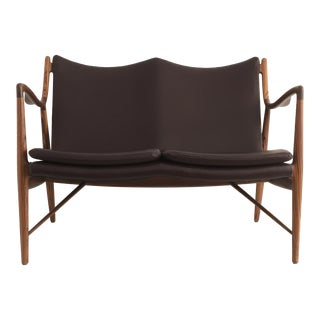 Finn Juhl Nv45 Style Settee in Zebrawood For Sale