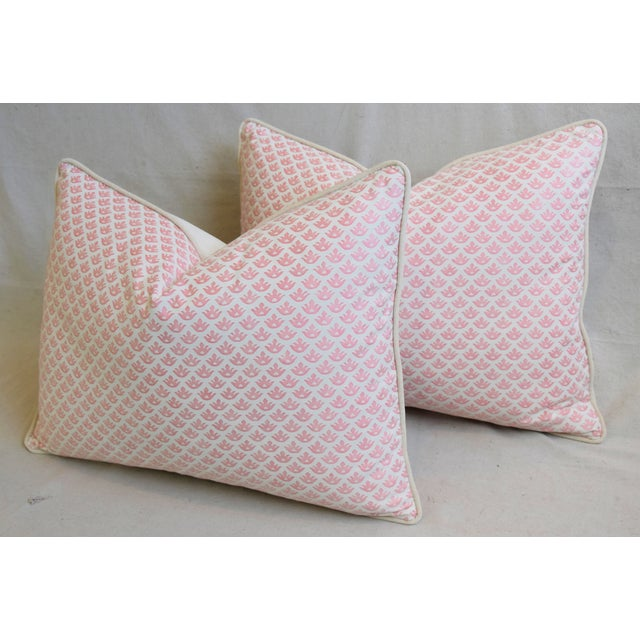 """Pink Italian Mariano Fortuny Pink Canestrelli & Velvet Feather/Down Pillows 24"""" X 18"""" - Pair For Sale - Image 8 of 13"""
