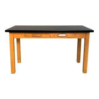 Industrial Midcentury Maple Laboratory Console Work Table For Sale