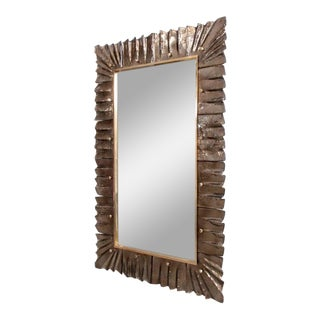 Huge Brass and Bronze Murano Glass Mirror For Sale