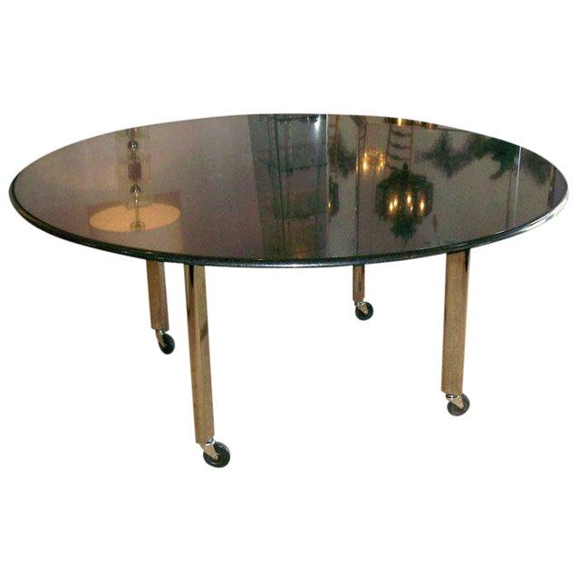 Vintage Joe d'Urso Table on Casters in Polished Black Granite For Sale