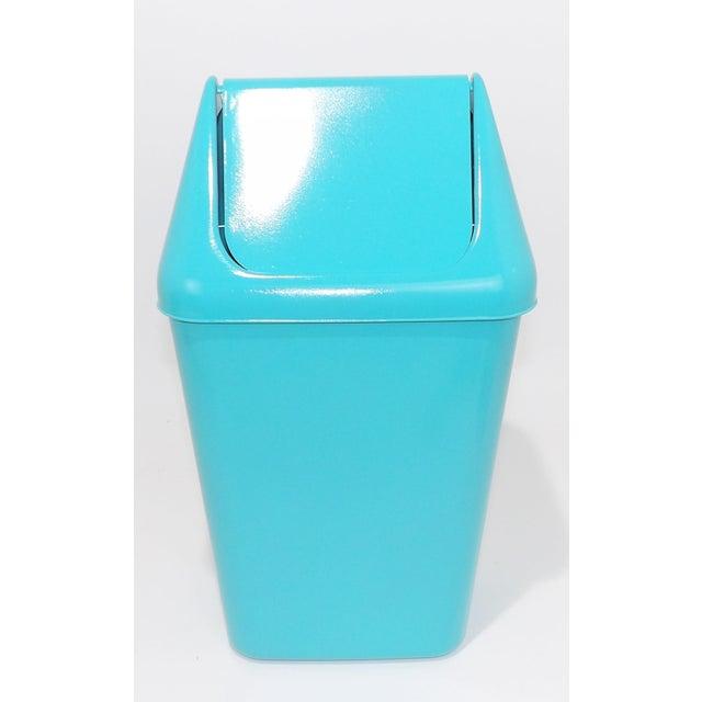 Aqua vintage plastic trash can waste receptacle garbage bin with lid mcm mid century modern vintage basket bathroom office...