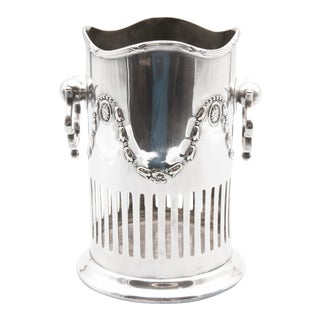 English Art Nouveau Silver Plate Wine Caddy Holder For Sale