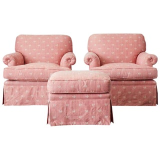 Pair of English Style Upholstered Club Chairs With Ottoman For Sale