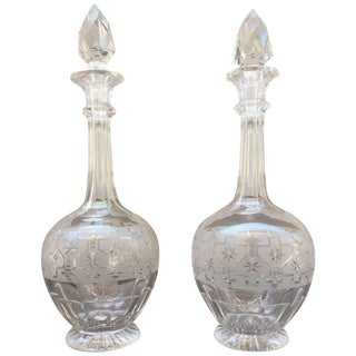 Pair of Etched Glass Decanters