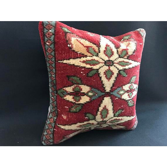 Red Colorful Turkish Wool Bohemian Pillow Cover For Sale - Image 8 of 11