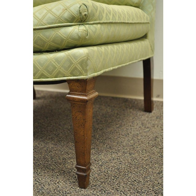 Wood Vintage Hollywood Regency Green Upholstered & Wood Slipper Accent Side Chair For Sale - Image 7 of 10
