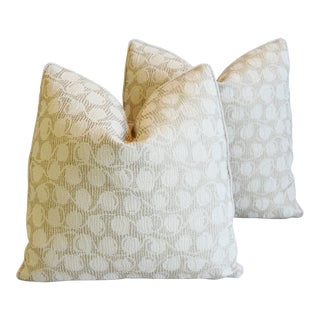 "Italian Embroidered Silk & Leather Feather/Down Pillows 21"" Square - Pair For Sale"