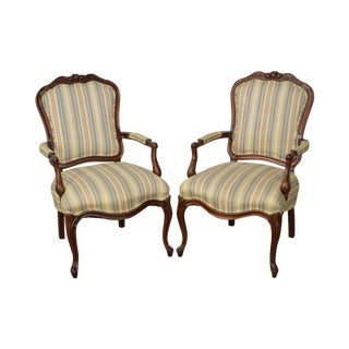 Louis XV Style Vintage Solid Mahogany Frame Arm Chairs - A Pair