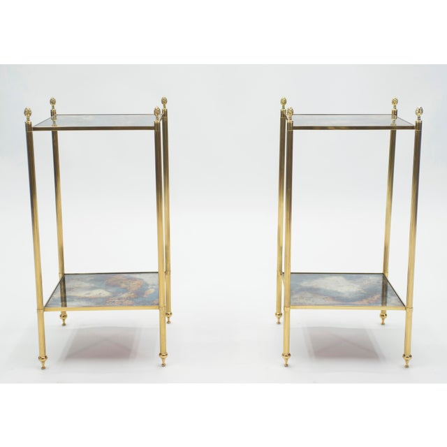 Maison Jansen Pair of French Maison Jansen Brass Mirrored Two-Tier End Tables 1960s For Sale - Image 4 of 13
