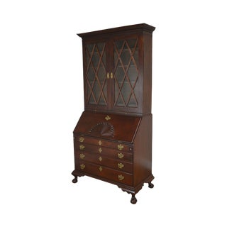 Irion Company Solid Mahogany Chippendale Style Antique Claw Foot Secretary Desk For Sale